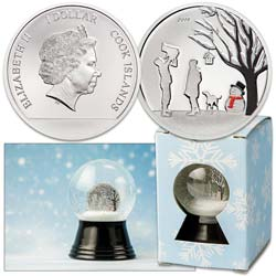 2019 Cook Islands 1/10 oz. Silver Dollar Snow Globe