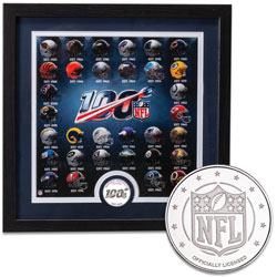 National Football League 100th Season Framed Print with Steel Round