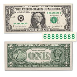 7 Matching Digits in a Row $1 Federal Reserve Note