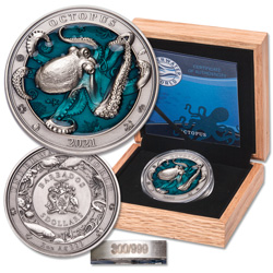 2021 Barbados 3 oz. Silver $5 Octopus