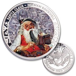 Norman Rockwell Silver-Plated Santa Round