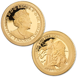 2021 Saint Helena .5 gram Gold 2 Pounds Una & the Lion