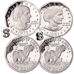 "1979 & 1981 Clear ""S"" Susan B. Anthony Dollar Set, Choice Proof, PR63"