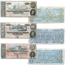 1864 Confederate States of America 3-Note Set ($5, $10 and $20), Circulated