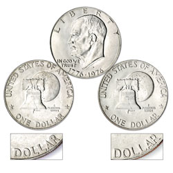 1976-D Eisenhower Dollar 2-Coin Set (Type I and Type II), Clad, Uncirculated