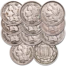 1865-1874 Nickel 3 Cent Piece Sets with Album
