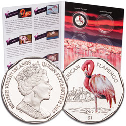 2019 British Virgin Islands $1 Flamingo and Folder