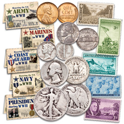 1945 WWII Coin & Stamp Sets