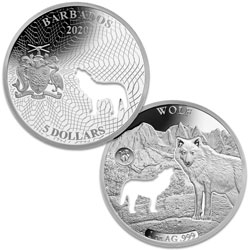 2020 Barbados Silver $5 Shapes of America - Wolf