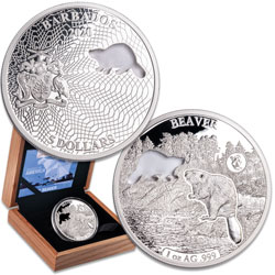 2020 Barbados Silver $5 Shapes of America - Beaver