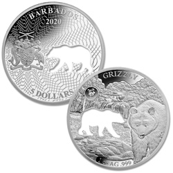 2020 Barbados Silver $5 Shapes of America - Grizzly