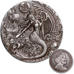 2018 British Indian Ocean Territories 2 oz. Silver £4 Mythical Creatures - The Siren
