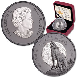2018 Canada Rhodium Plated 1 oz. Silver $20 Nocturnal Wolf
