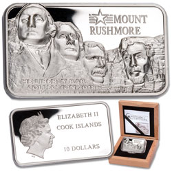 2018 Cook Islands $10 Mount Rushmore 2 oz. Silver Bar