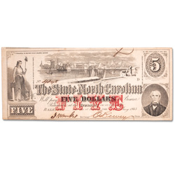 1863 $5 Southern States Note - Raleigh, North Carolina