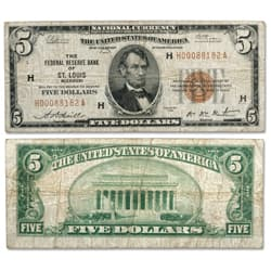 1929 $5 Federal Reserve Bank Note - St Louis