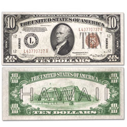 1934A $10 Federal Reserve Note, Hawaii