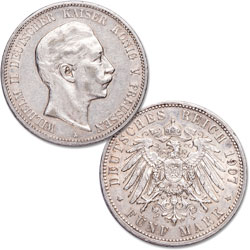 1891-1908 Prussia Silver 5 Marks