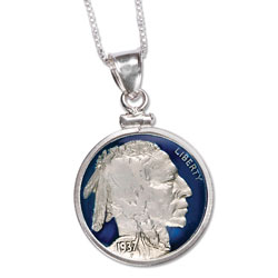 Blue Enameled Buffalo Nickel Necklace