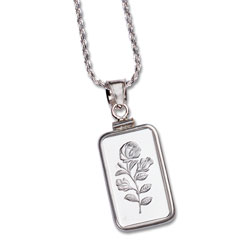2.5 gram Silver Bar Rose Necklace