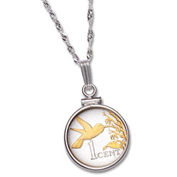 Trinidad & Tobago 1 Cent Hummingbird Necklace