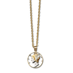 Mercury Dime Cut Coin Necklace