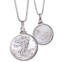 1/10 oz. Silver Round Liberty Walking Necklace