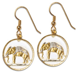 Elephant Cut Coin Earrings