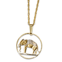 Elephant Cut Coin Necklace