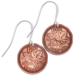 Canada 1 Cent Maple Leaf Earrings