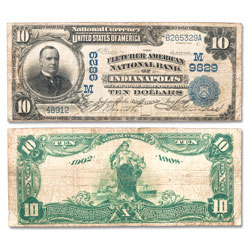 1902 $10 National Bank Note, Date on Back