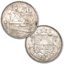 1922 Latvia Nickel 50 Santimu