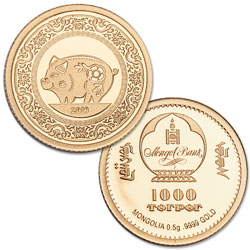 2019 Mongolia Gold 1000 Togrog - Year of the Pig