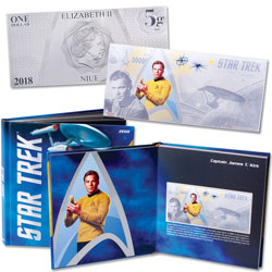2018 Niue Star Trek Original Series Captain Kirk Silver $1 Coin Note with Collector's Album
