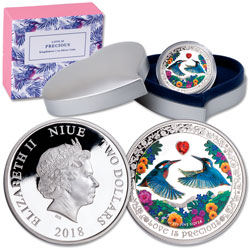 2018 Niue $2 Silver Love is Precious - Kingfishers