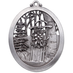 Snow Sled Pewter Ornament