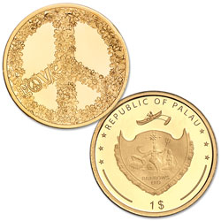 2018 Palau .5g Gold $1 Love and Peace