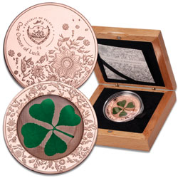 2020 Palau Silver $5 Four Leaf Clover with Rose Gold Plating