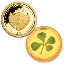 2021 Palau Gold $1 Four Leaf Clover