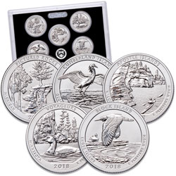 2018-S America's National Park Quarters Silver Reverse Proof Set