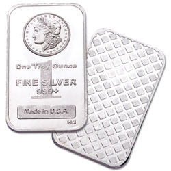 1 oz. Silver Bar - Morgan Dollar Design