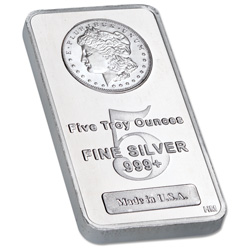 5 oz. Silver Bar - Morgan Dollar Design