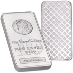 10 oz. Silver Bar - Morgan Dollar Design