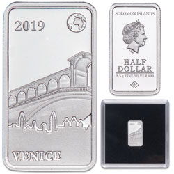2019 Solomon Islands Silver 50 Cents Famous Landmarks - Venice, Italy