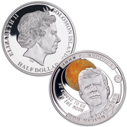 2019 Solomon Island Silver Plated Half Dollar Kennedy's Vision Moon Landing