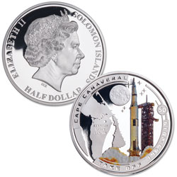 2019 Solomon Island Silver Plated Half Dollar Cape Canaveral Take Off Moon Landing