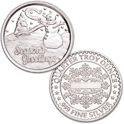 Season's Greetings Silver Round - Snowman