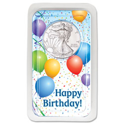 2019 Silver American Eagle in Happy Birthday Showpak