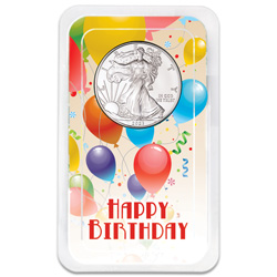 2021 Silver American Eagle in Happy Birthday Showpak