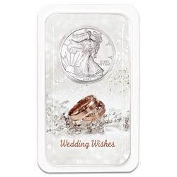 2021 Silver American Eagle in Wedding Wishes Showpak